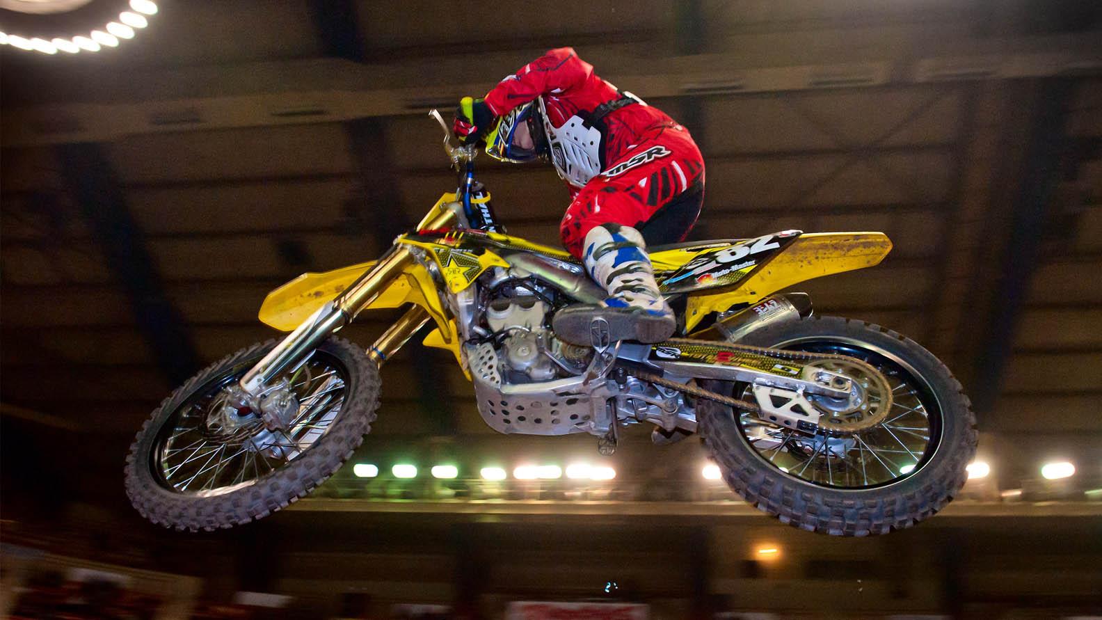 Arenacross bike taking flight at the 34th Annual Motorama - Ms Motorama - Harrisburg PA - Main Arena, Pennsylvania Farm Show Complex