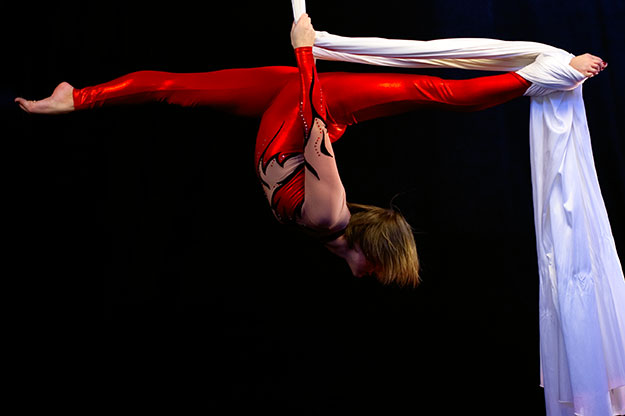 Shelly Guy practicing her aerial silks routine.