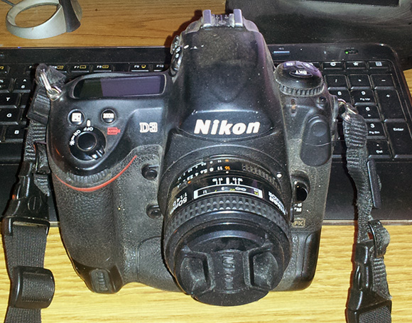 My sadly abused Nikon D3 after a day on the track shooting arenacross.