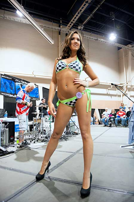 One of the contestants at the Bikini Contest at Motorama 2014