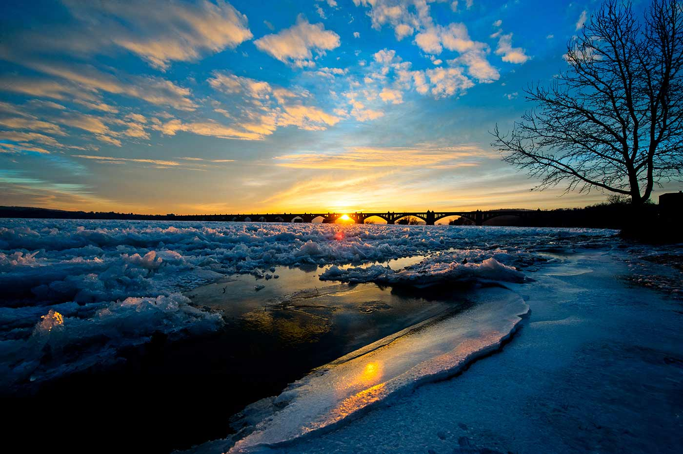 Sunrise photo of the cracked pack ice on the frozen Susquehanna River, Wrightsville, PA. Winter 2015