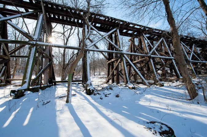 Taylor's Trestle, constructed in 1895, is part of the old Ma & Pa Railroad in Red Lion Pennsylvania is now dilapidated and showing it's age.