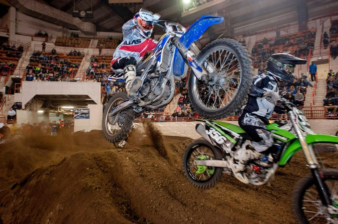 Wide angle shot, 24 MM, as a bike screams past very close to me in the main arena of the Pennsylvania Farm Show Complex at Motorama 2015