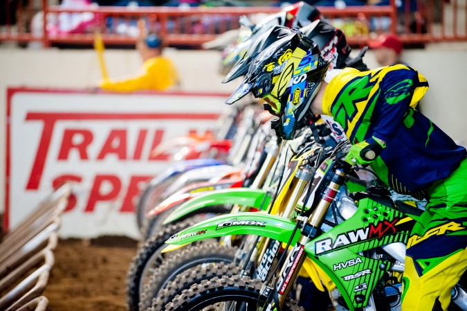 Arenacross racers at the starting gate. Motorama 2015 at the Pennsylvania Farm Show Complex in Harrisburg, Pennsylvania