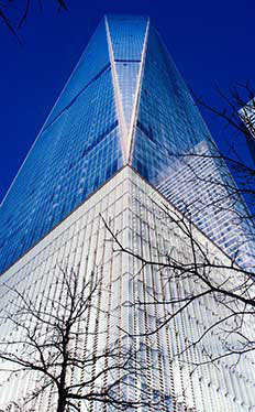 One World Trade Center. As seen from Ground Zero, National September 11 Memorial & Museum. New York City, New York