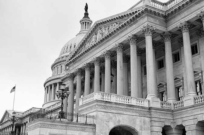 Black and white photo of the Chamber of the US Senate at the US, Capital Building in Washington DC, USA