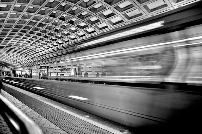 Photo of the DC Metro speeding below the National Mall in subway tunnels of Washington DC