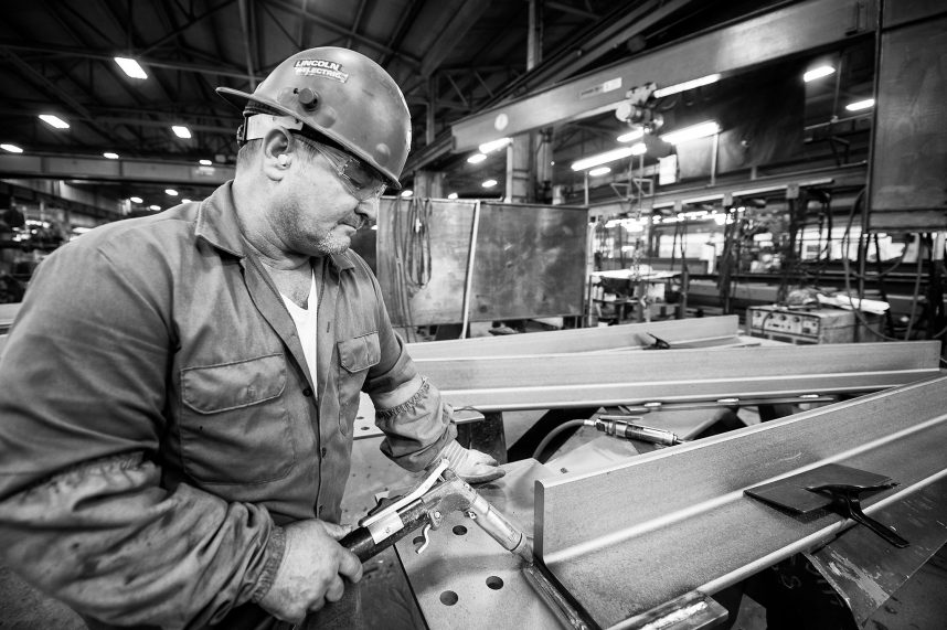 Steel worker in Lancaster, Pennsylvania welding a bead.