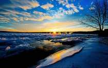 Golden hour photo of cracked pack ice on the Susquehanna River, Wrightsville, PA. Winter 2015