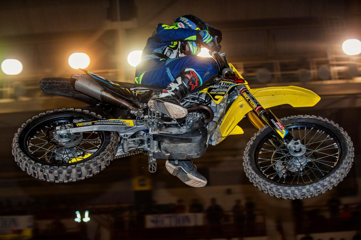 A motorcycle sores over heard in the arenacross races at Motorama 2017. Main Arena Pennsylvania Farm Show Complex, Harrisburg, PA