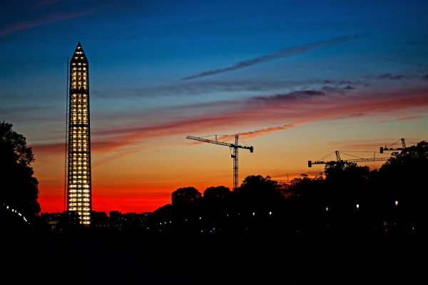 Washington Monument Under Repair at Sunset