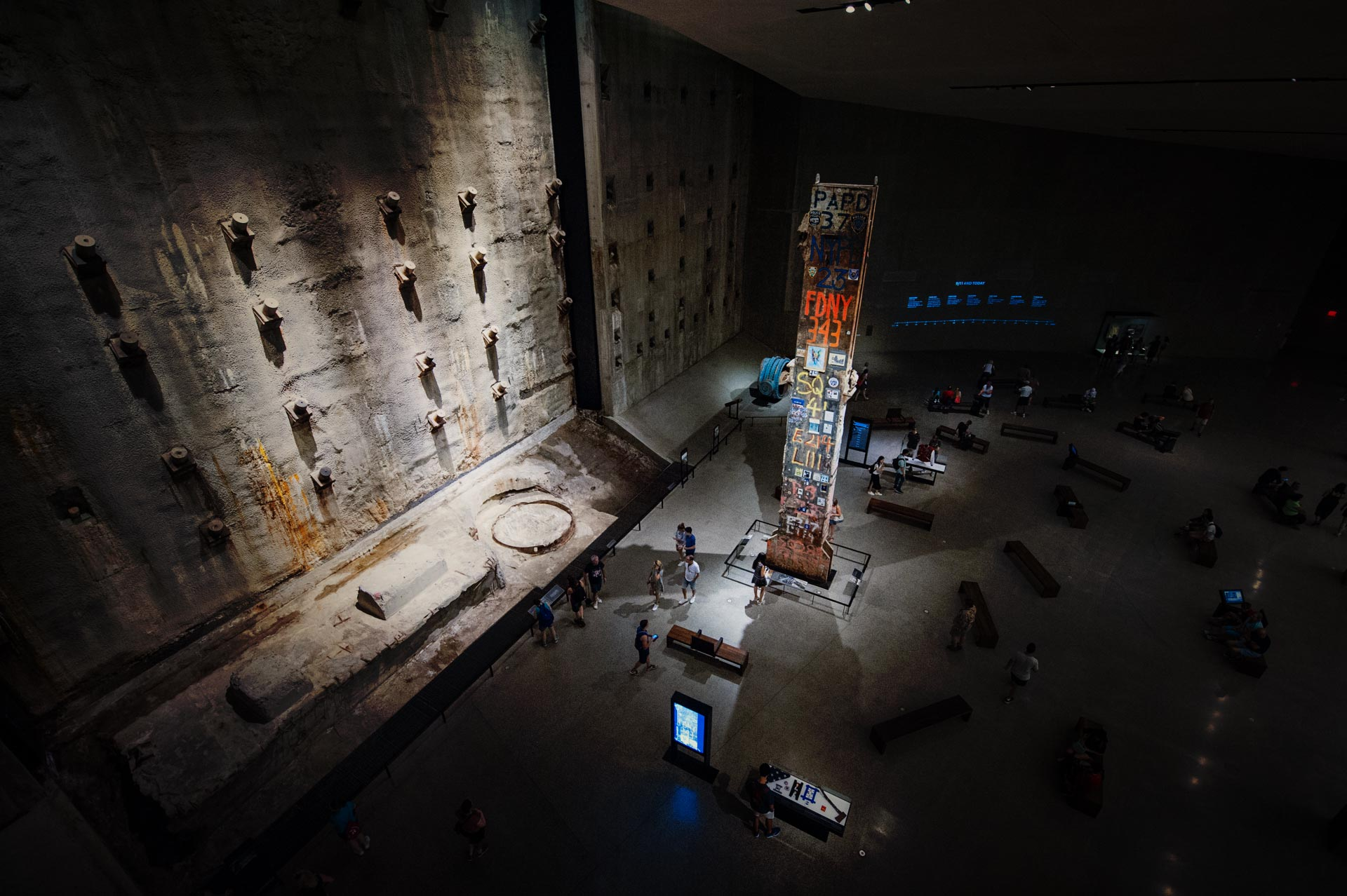 &quot;&quot;</Overlooking Foundation Hall of National September 11 Memorial &amp; Museum you see the Last Column and the original Slurry Wall.