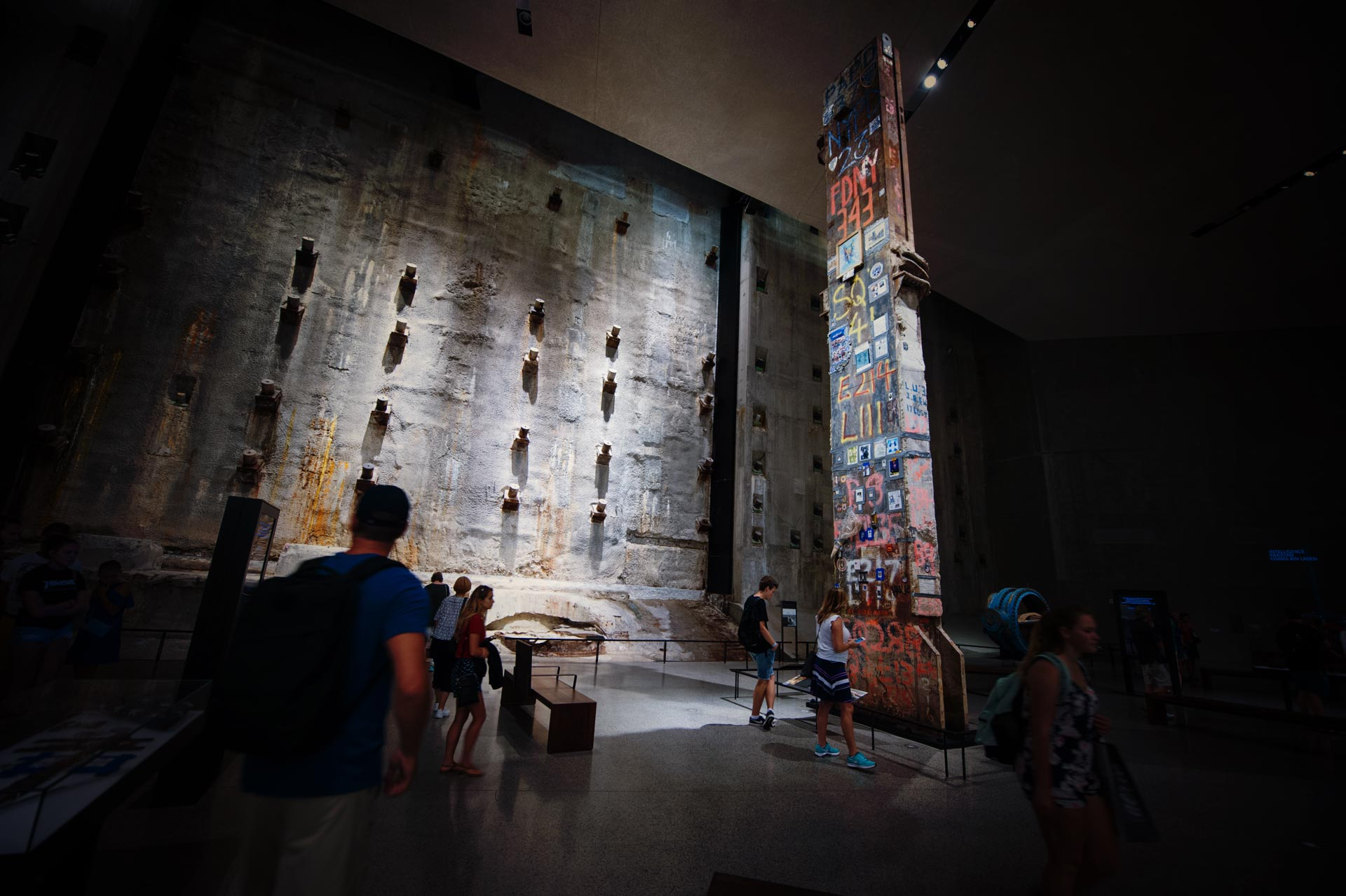 The Last Column and the Slurry Wall of the World Trade Center in Foundation Hall of the National September 11 Memorial Museum.