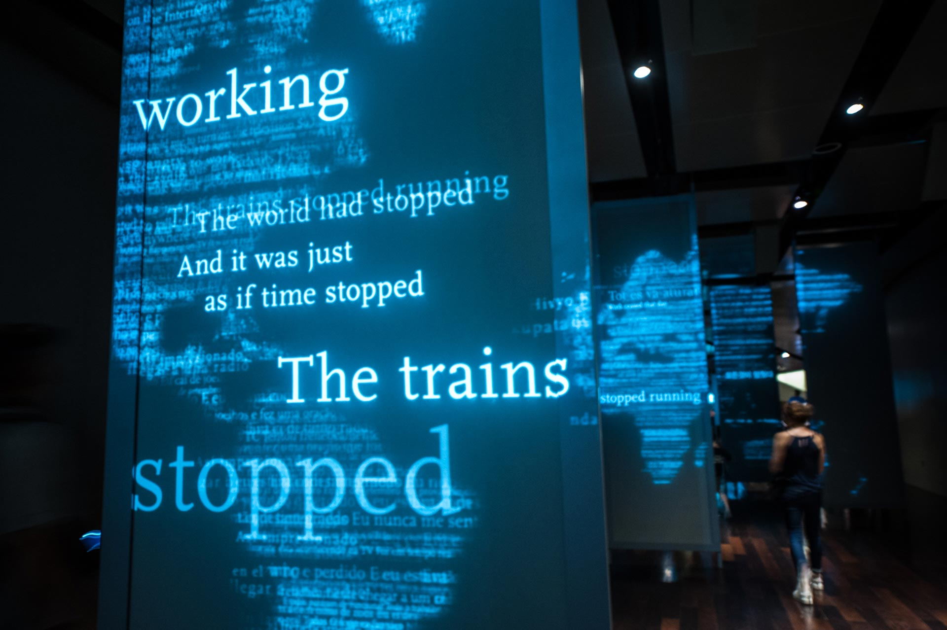 Quotes from 9/11 projected on panels at the National September 11 Memorial & Museum in New York, NY, USA