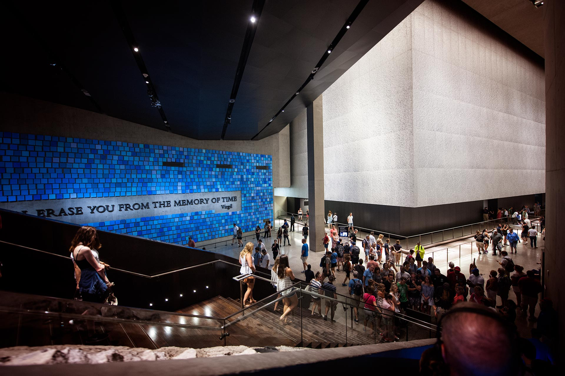 Descending Into the sacred grounds of the National September 11 Memorial Museum.