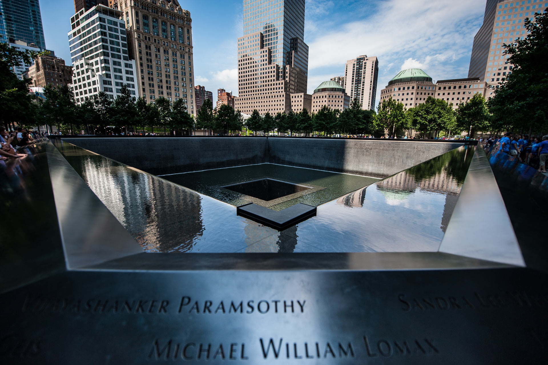 Reflecting pools at the National September 11 Memorial Museum in New York, NY, USA