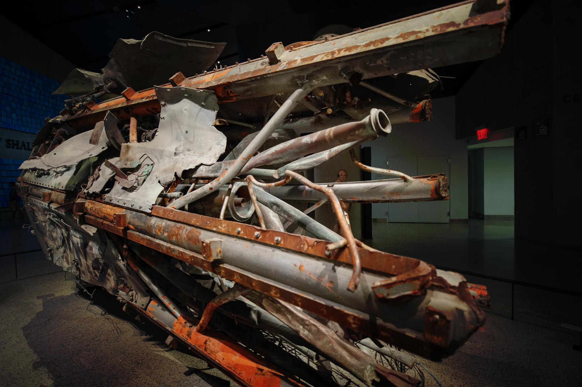 The base of the massive 360 foot antenna that topped the North Tower at National September 11 Memorial Museum in New York, NY, USA