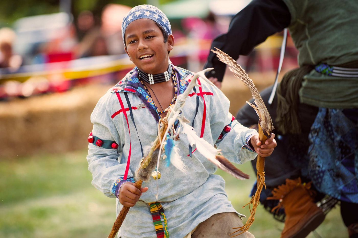Boy dancing in the circle at the 2016 Muddy Run Pow-Wow at Muddy run Park in Holtwood Pennsylvania.