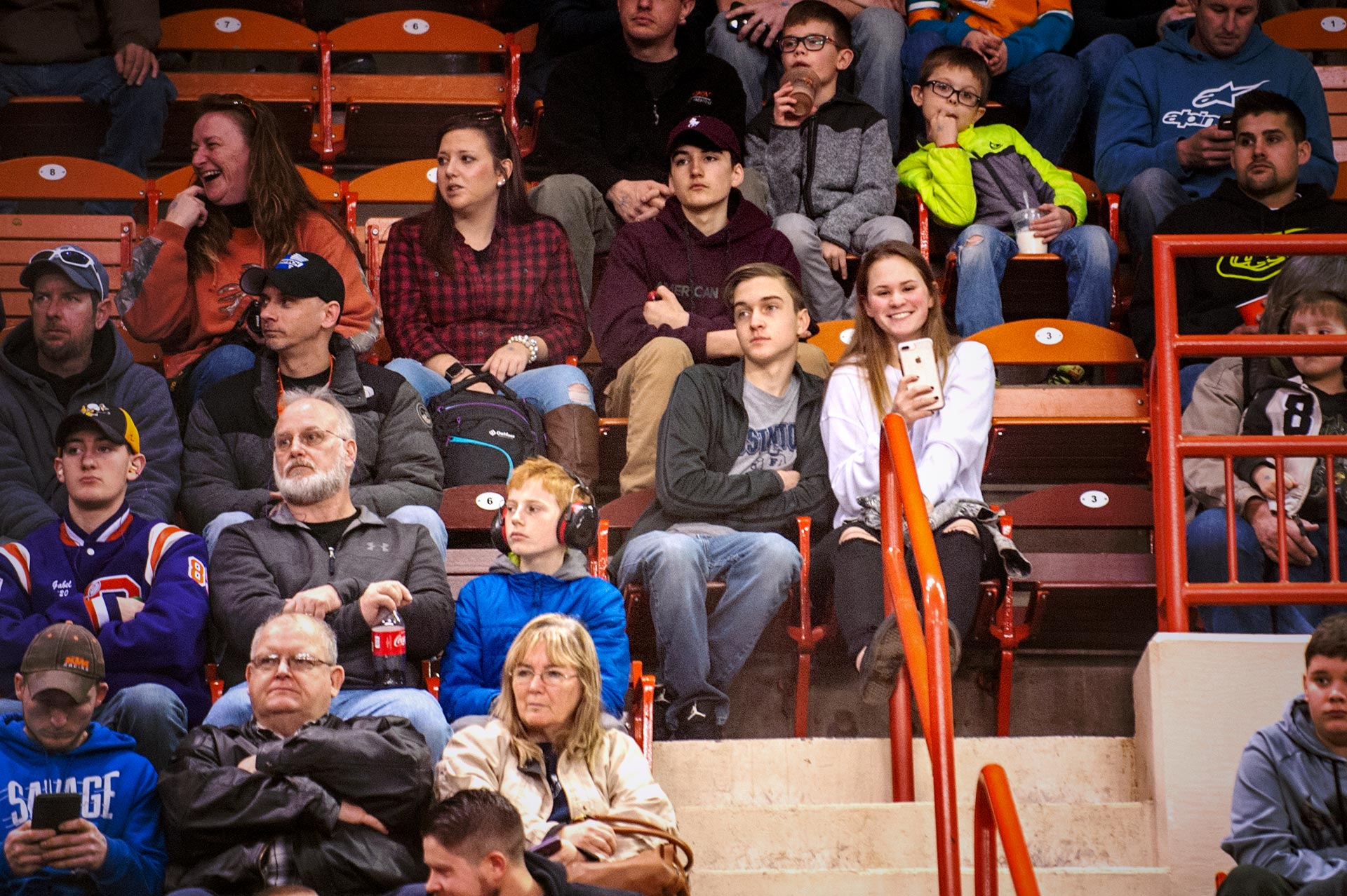 My daughter Megan and her boyfriend david in the stands to watch the arenacross races at Motorama 2018.