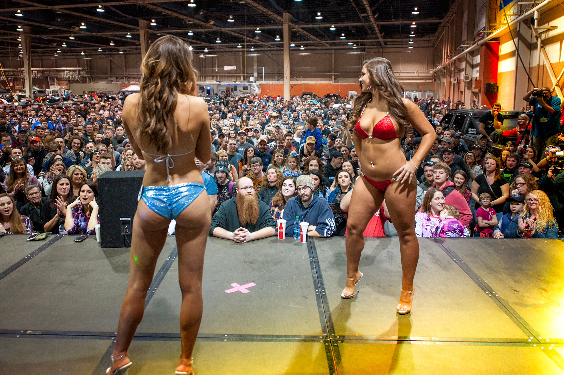 Abby, in red was this years winner of the the 2018 Ms Motorama Bikini Contest. Christina, in bule was the runner up.