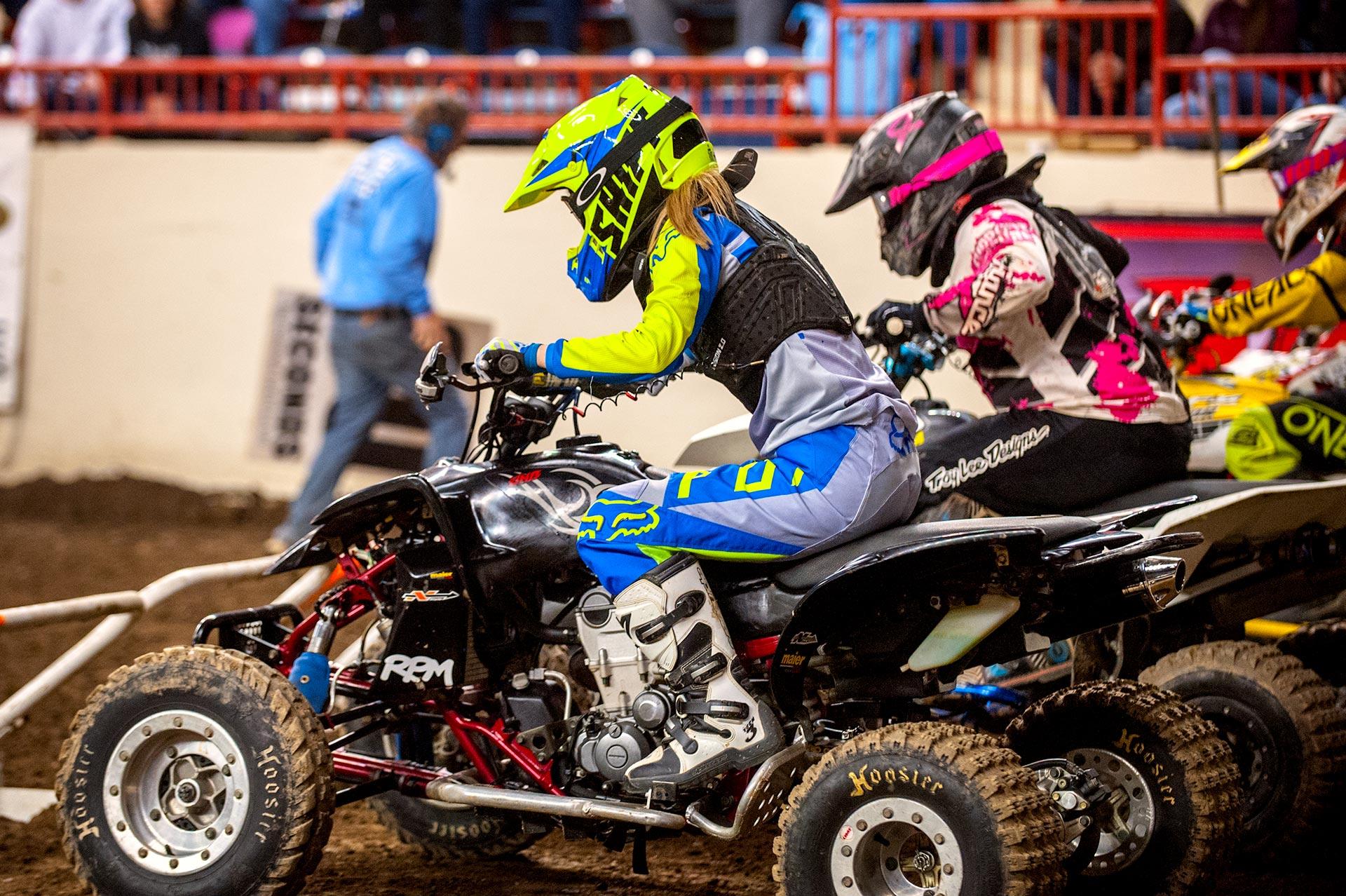 Quad racers on the starting line at Motorama 2017. Main Arena Pennsylvania Farm Show Complex, Harrisburg, PA